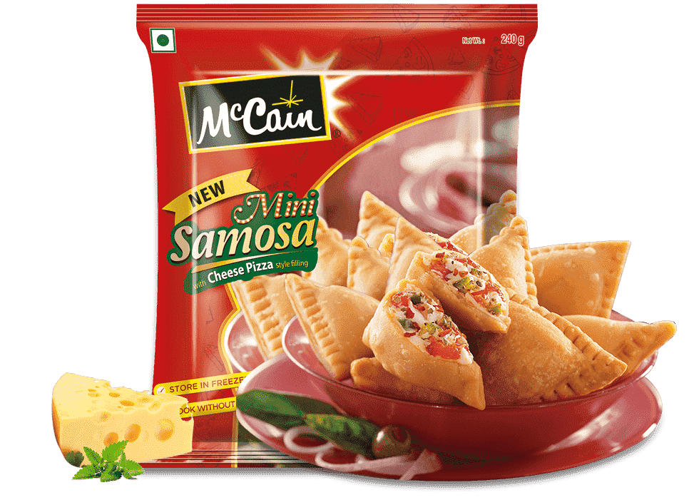 New McCain Mini Samosa with Cheese Pizza styly filling
