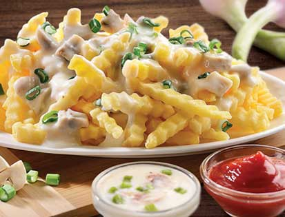 Fries Loaded with mushrooms Cheese Sauce